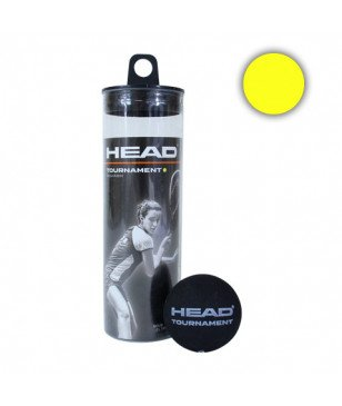Balles Squash Head Tournament 3B Can 1 Point Jaune Noir Mixtes