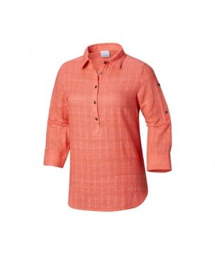Columbia Langarm Hemd Summer Ease Popover Rot Coral Damen