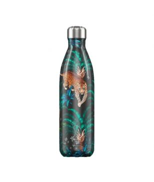 Chilly's Isotherm Trinkflasche Tropical Leopard 0.75L Schwarz Unisex