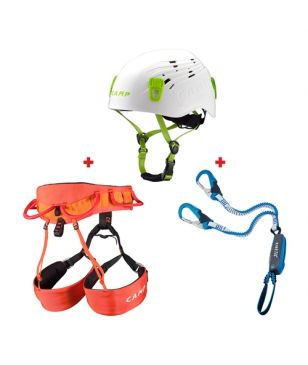 Set de Via Ferrata Camp Harnais Jasper CR4 M-L, Longe Rewind Pro 170 et Casque Titan L Mixtes