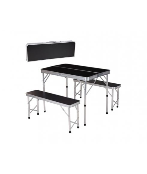 Table et Bancs Pliants Picknick Set 90x60cm Noir Mixtes