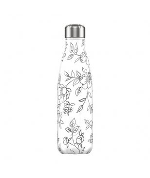 Chilly's Isotherm Trinkflasche Line Art Flowers 0.5L Grau Unisex