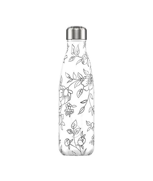 Gourde Isotherme Chilly's Line Art Flowers 0.5L Gris Mixtes