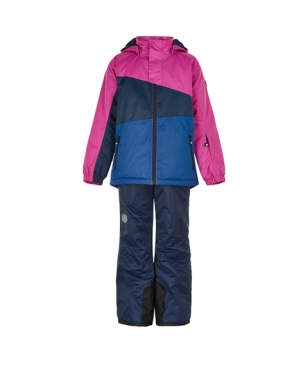 Set Veste et Pantalon Ski Color Kids Block Rose Filles pour LOCATION