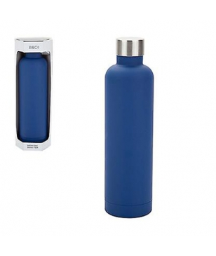 Gourde Isotherme B&CO Geo Rubber 0.5L Navy Bleu Mixtes